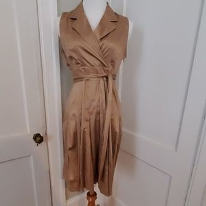 Linen faux wrap dress with pockets